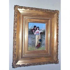 "Signed KPM porcelain plaque of lovers,  with frame- 14"" by 17"", Sold"