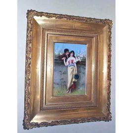 Signed KPM porcelain plaque of lovers