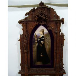 "Large KPM plaque in carved Black Forest frame, raised carvings of knights and castles, 12 1/2"" by 5 1/2"" without frame, with frame:25"" by 14"", Sold"
