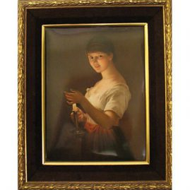 "KPM plaque of lady with reflection of  candle light, late 19th century, 8"" by 6"" without frame, Sold"