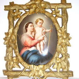 KPM plaque in gilded black forest frame of Madonna and child
