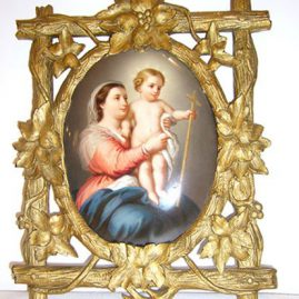 KPM porcelain plaque of mother and child