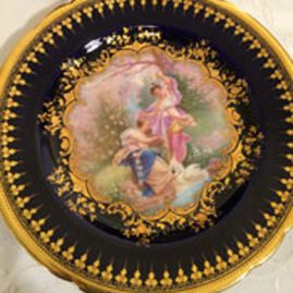 Ambrosius Lamm Dresden cobalt plate with painting of ladies and cherubs