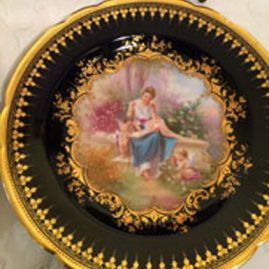 Ambrosius Lamb Dresden cobalt plate of lady and cherub