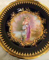 One of a set of 6 Ambosia Lamb Dresden plates, each painted differently