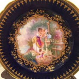 Ambrosius Lamm Dresden cobalt plate painted with ladies and cherubs