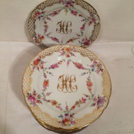 Set of 10 Ambrosius Lamm Dresden plates, each painted with different flowers