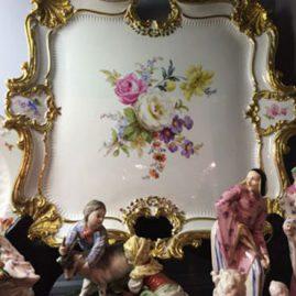 Large Meissen floral plaque or platter
