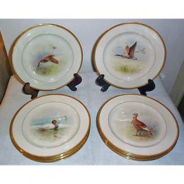 12 Lenox green mark game plates, each painted differently, signed W.H. Morley, ca-1920s, sold
