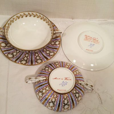 Set of seven Le Tallec made exclusively for Tiffany and company cream soups