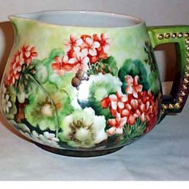 Limoges Jean Pouyat cider pitcher, ca-1890s-1900, 6 inches tall by 10 inches wide, $495.00