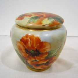"Limoges humidor or bisquit jar painted with poppies, ca-1900, artist signed, 5 1/4"" tall, $650.00"