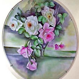 Large Limoges plaque or tray painted with pink and white roses