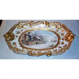 Limoges winter scene plaque, dated 1894, signed MJM, 17 inches long by 9 1/2 inches tall, $995.00
