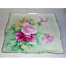 Limoges rose plaque, Jean Pouyat