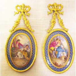 "Pair of French hand painted porcelain plaques of lovers, artist signed, ca-1900, without the frame-4 1/2"" by 3 1/2"", Sold."