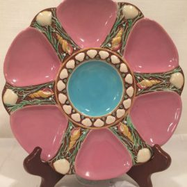 Pink and blue Minton majolica oyster plate