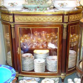 Marble top vitrine cabinet