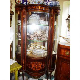 Marquetry inlaid curio cabinet, ca-1900, with angel marquetry inlay, Price on Request