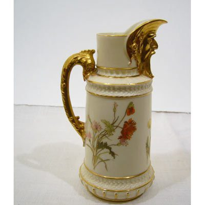 Rare Royal Worcester pitcher with masked spout