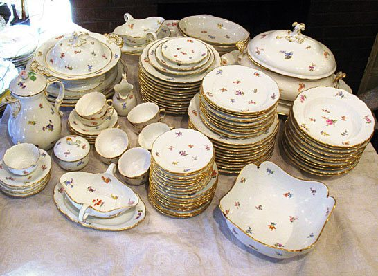 We have an extensive set of Meissen streublumen china. mostly all pieces are from late 19th century. Prices on Request