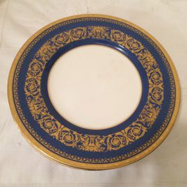 Set of twelve blue and gold Minton dinner plates; 10 1/2 inches, circa-1924. Price on Request