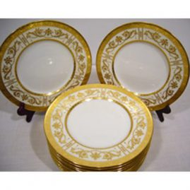 Set of 12 Minton luncheon plates with intricate raised gilding decoration, 9 inches, ca-1919, gilding in perfect condition, Sold