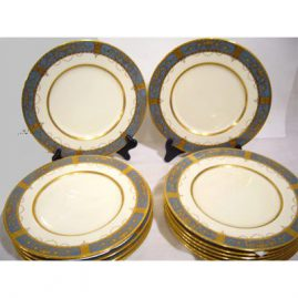 "Set of 12 Minton dinners with raised gilding, 10 1/4"", 1925, Sold"