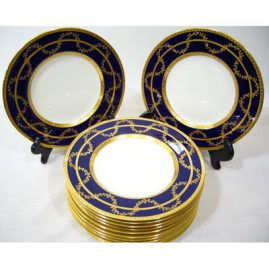 12 beautiful Minton cobalt blue with raised gilding salad or dessert plates, 1890-1920, 10 1/4 inches, Sold