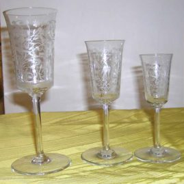 Baccarat stemware with birds, dogs, rabbits-12 goblets- Sold, 11 ports-$250 each,11 cordials-$195 each