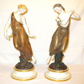 Pair of Royal Worcester figurines, Morning Dew and Evening Dew, late 19th century, Sold