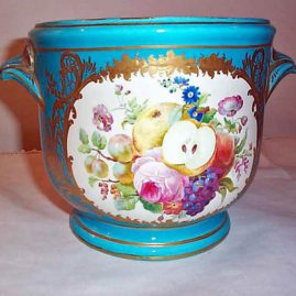 Other side of French celeste blue cache pot, interlaced Ls mark, Price on Request