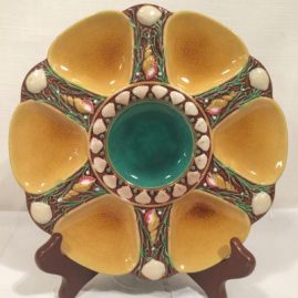 Yellow and green Minton majolica oyster plate with shell decoration, Nine inch diameter, Circa is 1867, Price on Request.