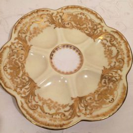 Set of ten rare limoges oyster plates with raised gilding