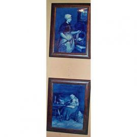 "Pair of Royal Delft plaques after Blommers, Joost, Thoolft and Labouchere,1890-1913,  8""by 10"", sold"