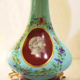 Pair of Paris porcelain lamps with portrait medallions
