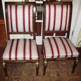 Pair of French style chairs, with ormolu accents, ca-1900-1920s, Price on Request