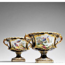 Pair of cobalt Royal Crown Derby urns or vases with handpainted bird decorations, artist signed Darlington, 10 inches wide by 6 inches tall, Price on Request