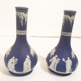 Pair of Wedgwood dark blue jasperware vases