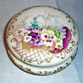 Limoges pansy powder box, Tressemann & Voyt, ca- 1892-1907, 8 inches, $750.00