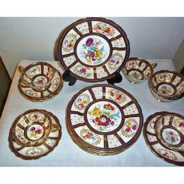 Paragon dessert set for 6, 6 cake plates and 6 cups and saucers, signed J.A. Robinson, Sold