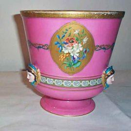 Paris porcelain pink cache pot with masked lady decoration