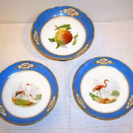 Paris porcelain compotes, each painted with different birds and fruits