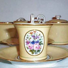 Set of Paris porcelain cups and saucers, each painted with different flower bouquets
