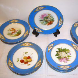 Paris dessert set, each piece painted with different fruits, flowers and birds. Ca-1880s, 12 plates, also have cups and saucers to match