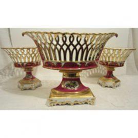 Paris Porcelain three piece reticulated garniture set