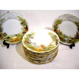 Set of Four Paris Porcelain plates, signed Mansard Rue de Paris