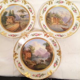 Close up of one of the set of six well painted Paris Porcekain scenic plates,each painted differently, each 8 inches in diameter, circa-1880s. Price on Request