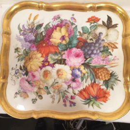 Fabulous large  finely painted Paris Porcelain tray,  17 3/4 by 16 1/2 inches, late 18th century, Sold.
