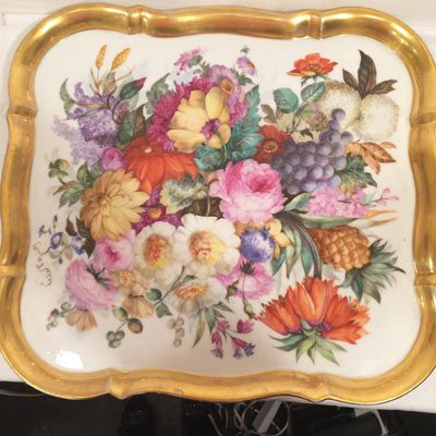 Fabulous large finely painted Paris Porcelain tray